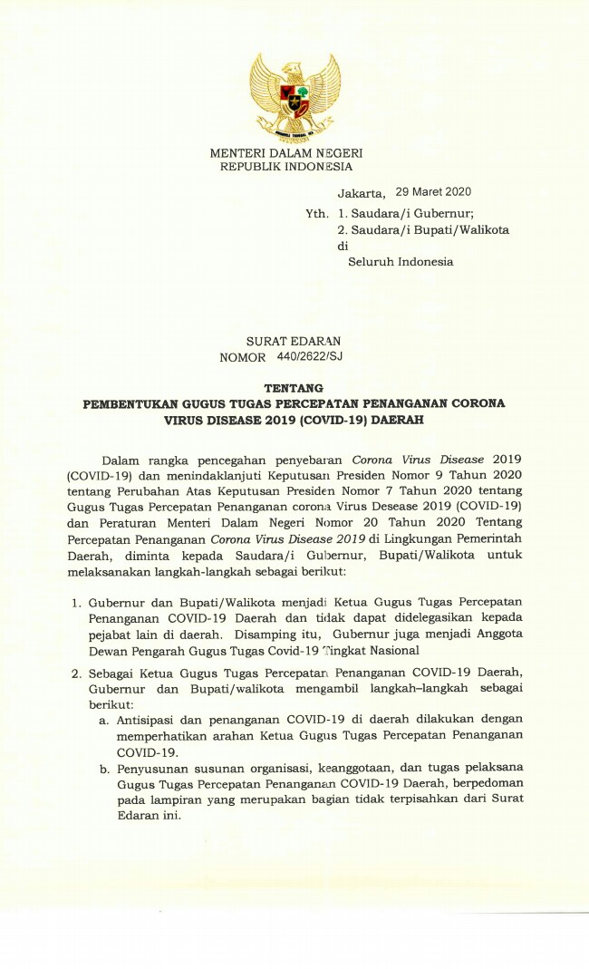 Surat Edaran Menteri Dalam Negeri Republik Indonesia Tentang Pembentukan Gugus Tugas Percepatan Penanganan Corona Virus Disease 2019 Covid 19 Daerah